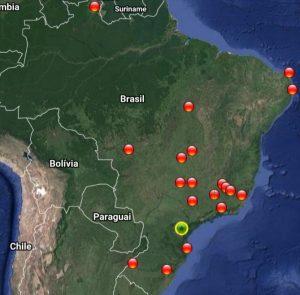 Mapa das instituições que compõe a rede IFES